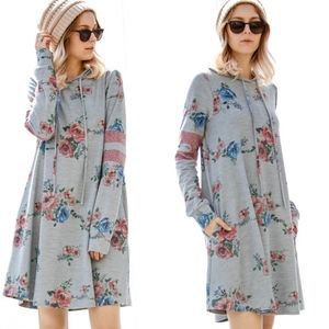 RYLEE Floral Print Dress - GREY